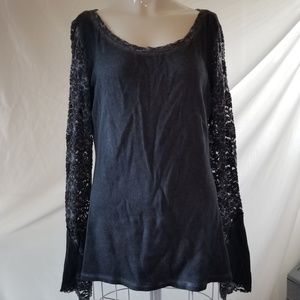 Othersfollow thermal lace sleeves distressed grey